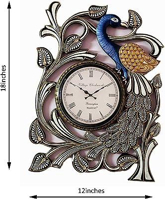 RoyalsCart Peacock Handcrafted Analog Wall Clock, Multi [KTWC312]
