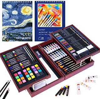 126 Piece Deluxe Art Set with 2 Drawing Pad, Art Set in Portable Wooden Case- Crayons, Oil Pastels, Colored Pencils, Acryl...