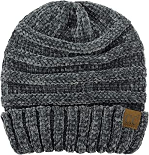 C.C Women's Chenille Oversized Baggy Soft Warm Thick Knit Beanie Cap Hat