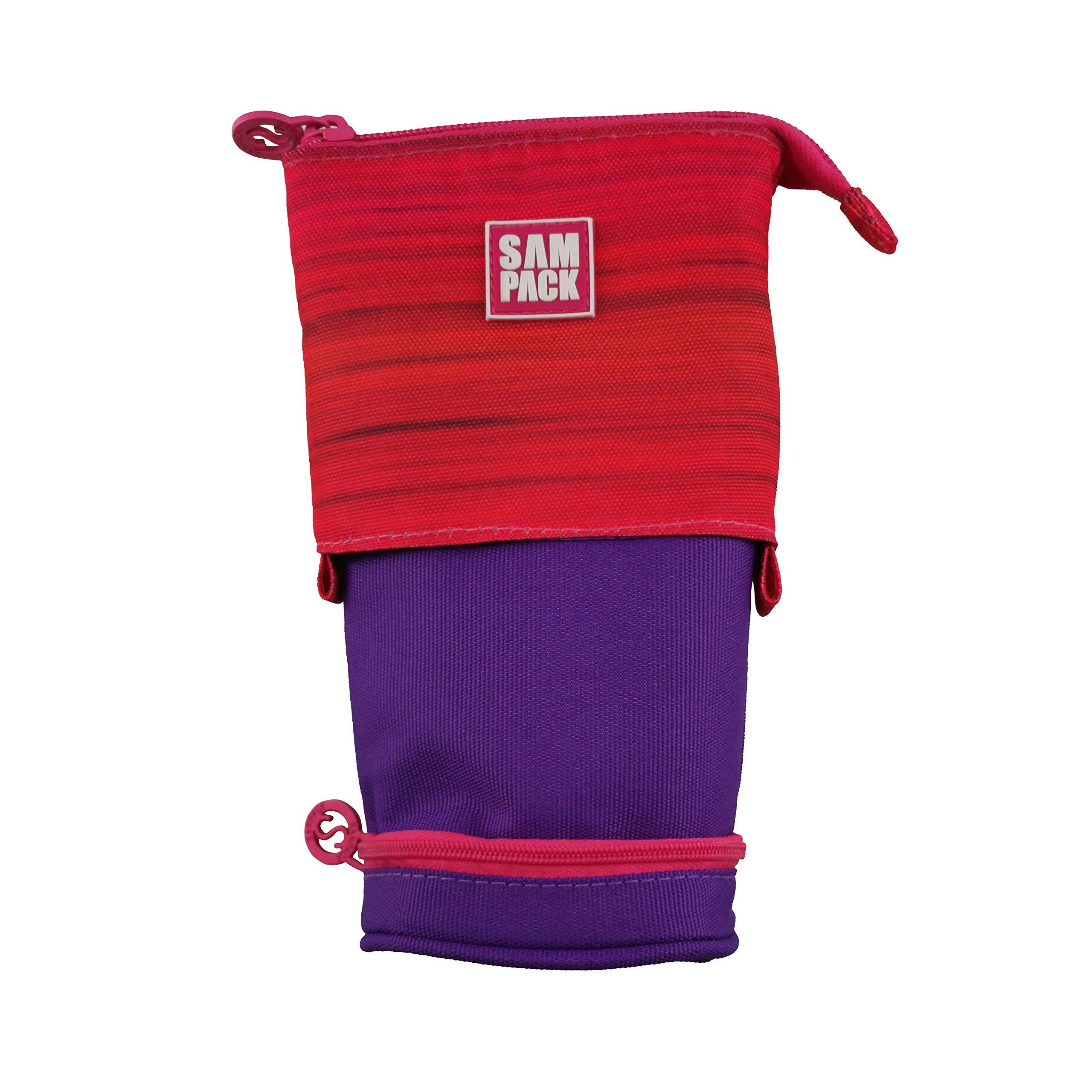 Estuche Escolar Rojo&Lila Sampack 2 Cremalleras 2 Bolsillos Transformable 12 x 6 x 20 cm: Amazon.es: Oficina y papelería