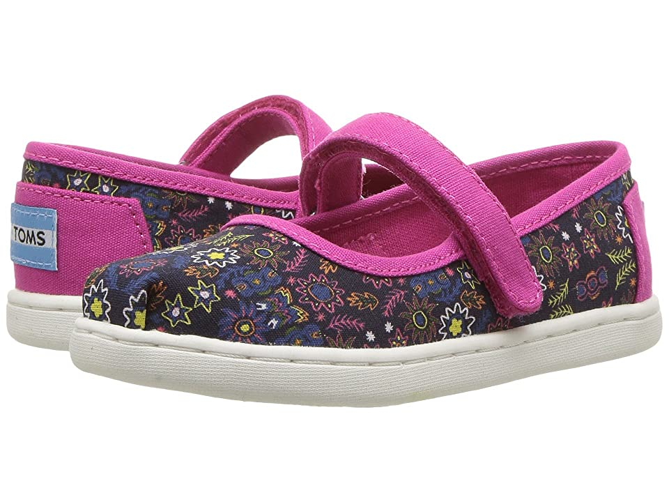 TOMS Kids Mary Jane (Infant/Toddler/Little Kid) (Navy Multi Forest Floral) Girls Shoes
