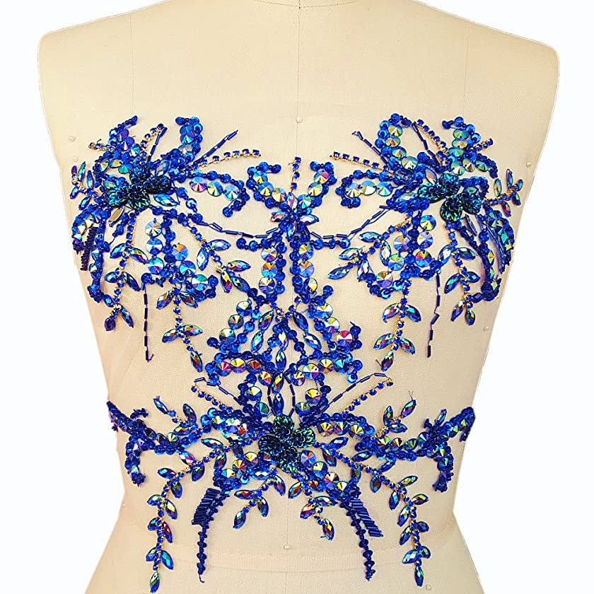 Pure Handmade Bling Flower AB Colour Stone Sequin Sew on Beads Rhinestones Applique Collar Trim Crystals Patches Sewing for Wedding Dress Accessory 34x34cm DIY Chest Waist Decoration (Blue)