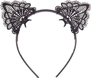 Bonnie Z. Leonardo Exquisite Sweet Lace Cat Ears Headband Black-Plastic