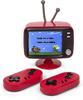 Thumbs Up ORB – Retro konsol Mini TV (röd) med 2 radiostyrenheter – inkl. 300 x 8-bitars spel
