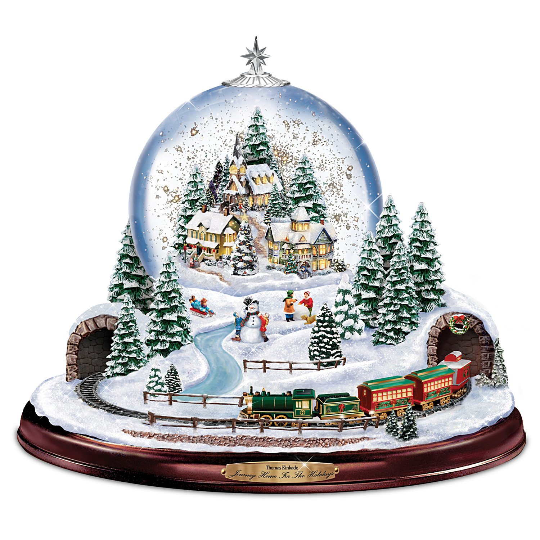 Image of Lighted Musical Thomas Kinkade Christmas Village Snowglobe with moving Train