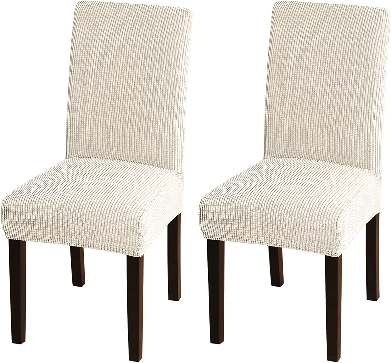 Amazon Com Turquoize Dining Room Chair Covers Stretch Chair Covers For Dining Room Set Of 2 Dining Chair Slipcover Parsons Kitchen Chair Covers Removable Chair Protector Covers For Dining Room 2 Biscotti Beige Home