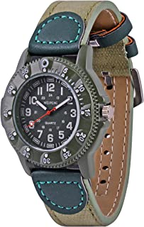 Wolfteeth Teenager Boy's Sport Watch Unique Big Face Analog Watch Military Army Watch Casual Fashion Design Water Resistant PU Strap 3063