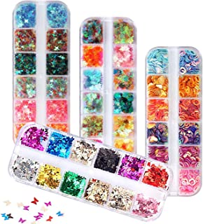 48 Boxes Holographic Nail Sequins, FITDON Shell Round Star Leaf Butterfly Iridescent Flake Nail Glitter, Colorful Confetti...