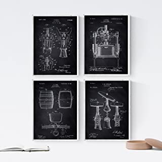 Nacnic Black - Pack of 4 Sheets with Wine Patents. Set of Posters with Inventions and Old Patents. Choose The Color That You Like The Most. Printed on 250 Gram Paper