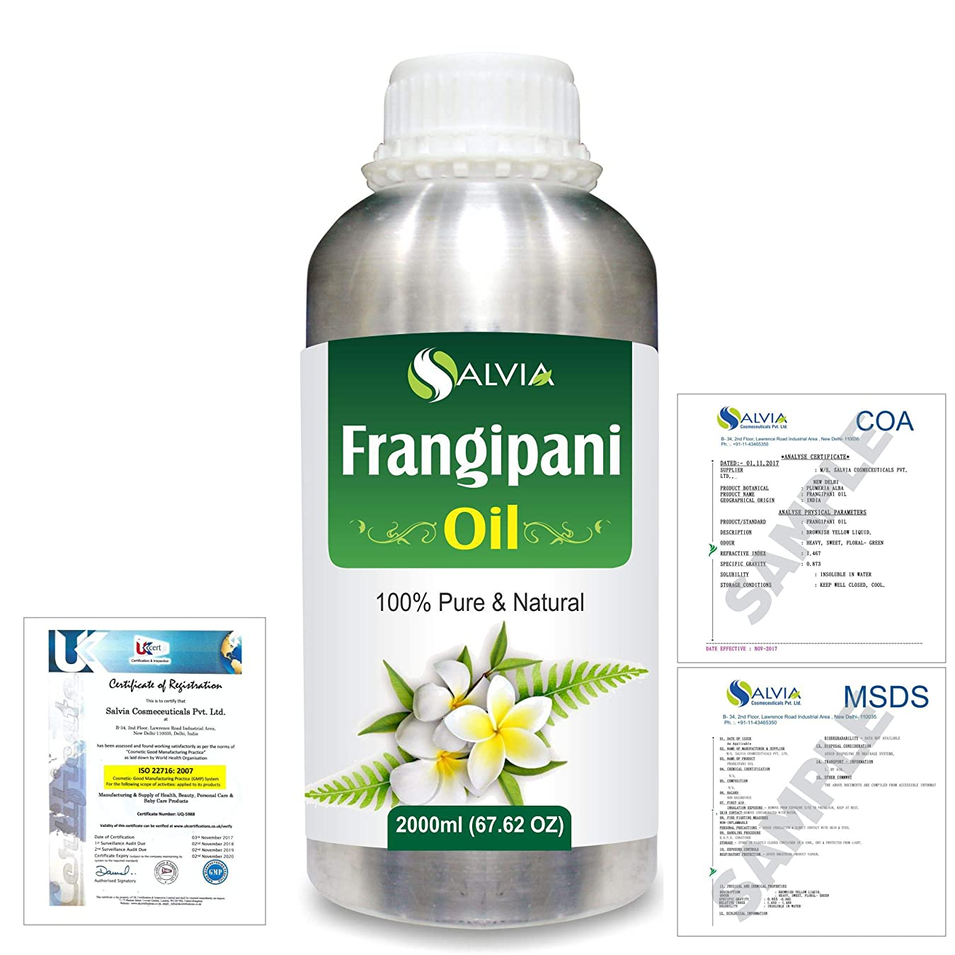 スロープ櫛ラックFrangipani (Plumeria Alba) 100% Natural Pure Essential Oil 2000ml/67 fl.oz.