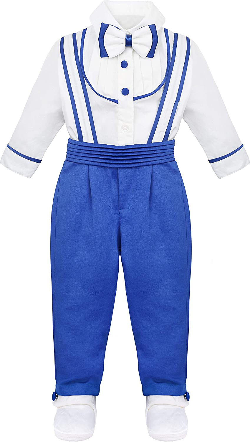 Lilax Baby Boy Gentleman Outfit Jumpsuit, T-Shirt and Shoe Infant 3 Piece Set