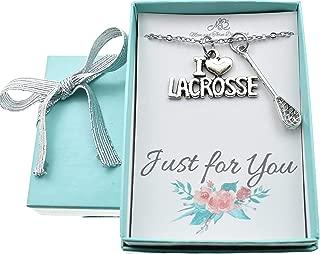 I Love Lacrosse necklace. Lacrosse jewelry. Lacrosse necklace. Lacrosse charms. Lacrosse stick. Lacrosse gift. Lacrosse coach.