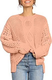 Utyful Women's Crew Neck Dropped Shoulder Side Slit Knit Pullover Sweaters Tops