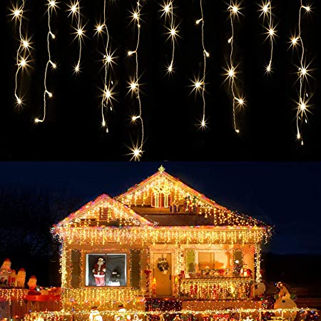 Christmas Lights Warm White. 24.6 Ft 50 Led Fairy Lights Battery Operated 2 Modes 5 Sticking Hooks for Xmas Indoor Outdoor Tree Garden Patio Bedroom Party Decorations