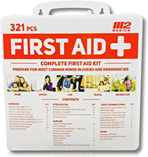 M2 BASICS 321 Piece Premium First Aid Kit w/Hard Case   Free First Aid Guide   Emergency Medical Supply   Home, Office, Outdoors, Car, Camping, Travel, Survival, Workplace