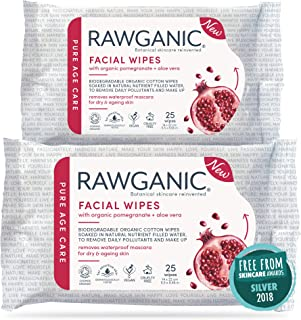 Rawganic Anti-aging Hydrating Facial wipes, Fragrance-free Biodegradable Organic Cotton Wipes with Pomegranate and Aloe Ve...