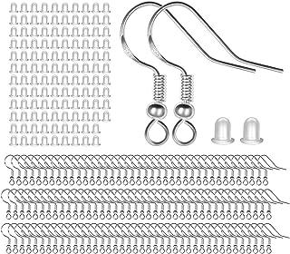Pendientes de plata de ley 925 con gancho de oreja con bola de resorte para hacer joyas personalizadas, 100 unidades