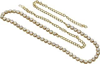 Nishivjewels Gold White Single line Designer Belly Chain,Waist Belt/Kamar bandh/tagdi for Women and Girls