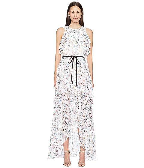 ML Monique Lhuillier Sleeveless Tie Waist Garden High-Low Dress