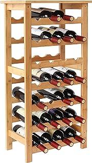 YOUKE botellero de bambú Botellero para 28 Botellas de 7 Estantes Estantería para Botellas de Vino de Bambú 44 * 24.5 * 9...