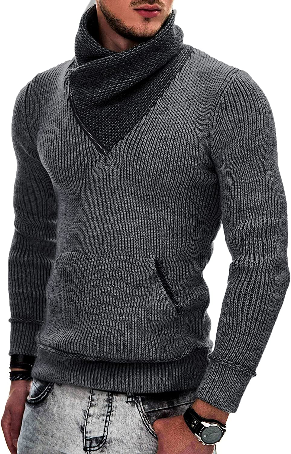 COOFANDY Men's Knitted Turtleneck Pullover Shawl Collar Sweaters Slim Fit High Neck Hoodies with Pockets