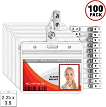 MIFFLIN Horizontal Plastic Card Holder with Metal Clip and Vinyl Straps (Clear, 2.25x3.5 Inch, 100 Pack), Waterproof PVC ID Badge Holder with Clip