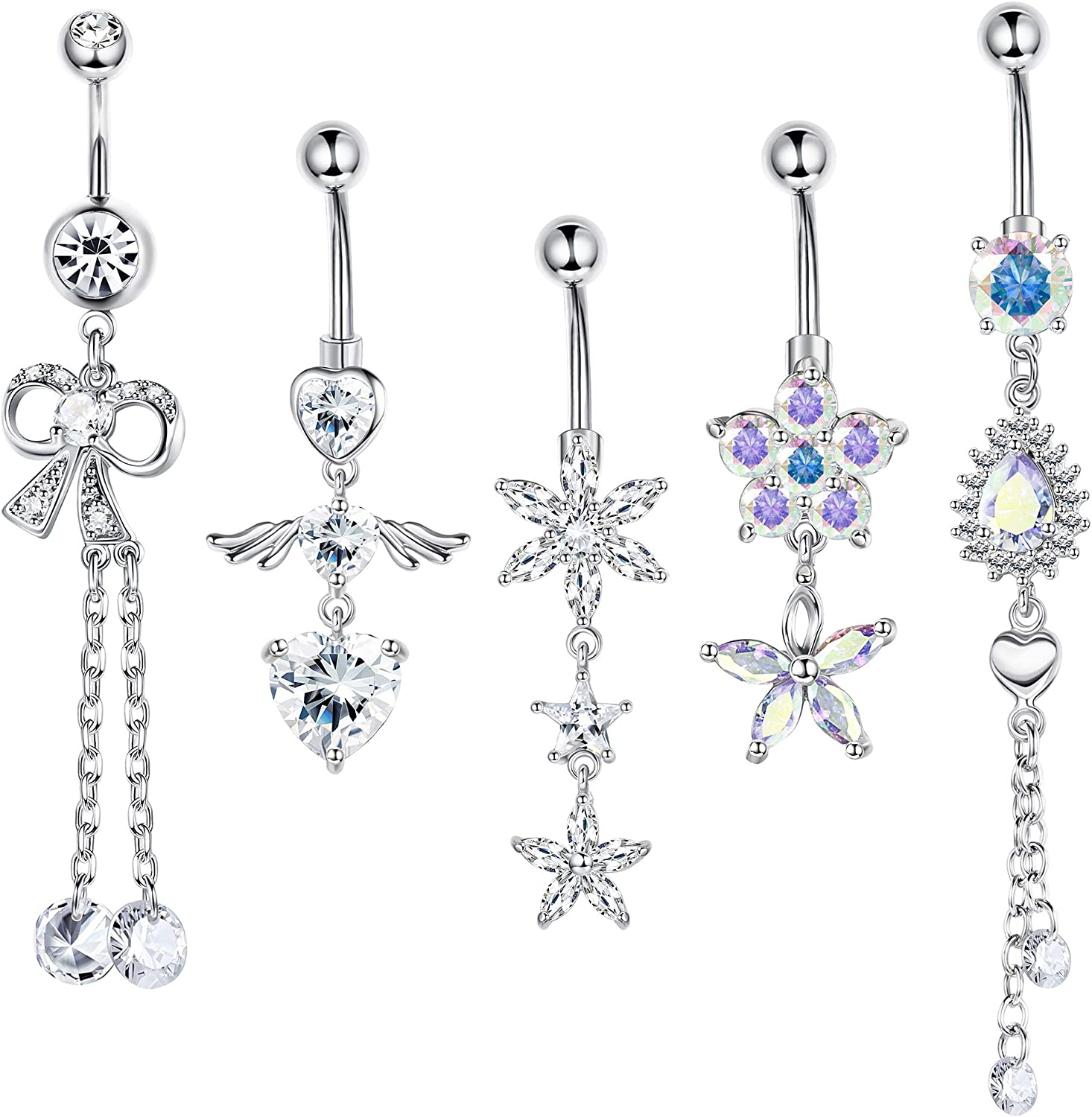 Udalyn 5 pcs 14g Dangle Belly Button Rings for Women Stainless Steel Curved Navel Barbell Body Jewelry Piercing