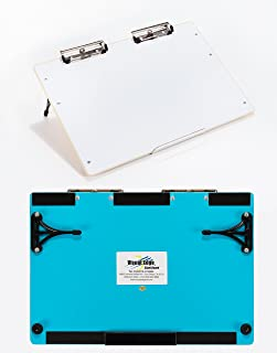 Visual Edge Slant Board (Blue), A Sloped Work Surface for Writing, Reading, Art and Speech for Optimal Learning - Portable Desktop Magnetic Dry Erase White Board with Clipboard for Kids