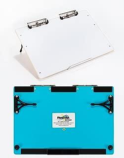 Visual Edge Slant Board - Sloped Work Surface for Optimal Learning - Portable Desktop Magnetic Dry Erase White Board for Kids (Blue)