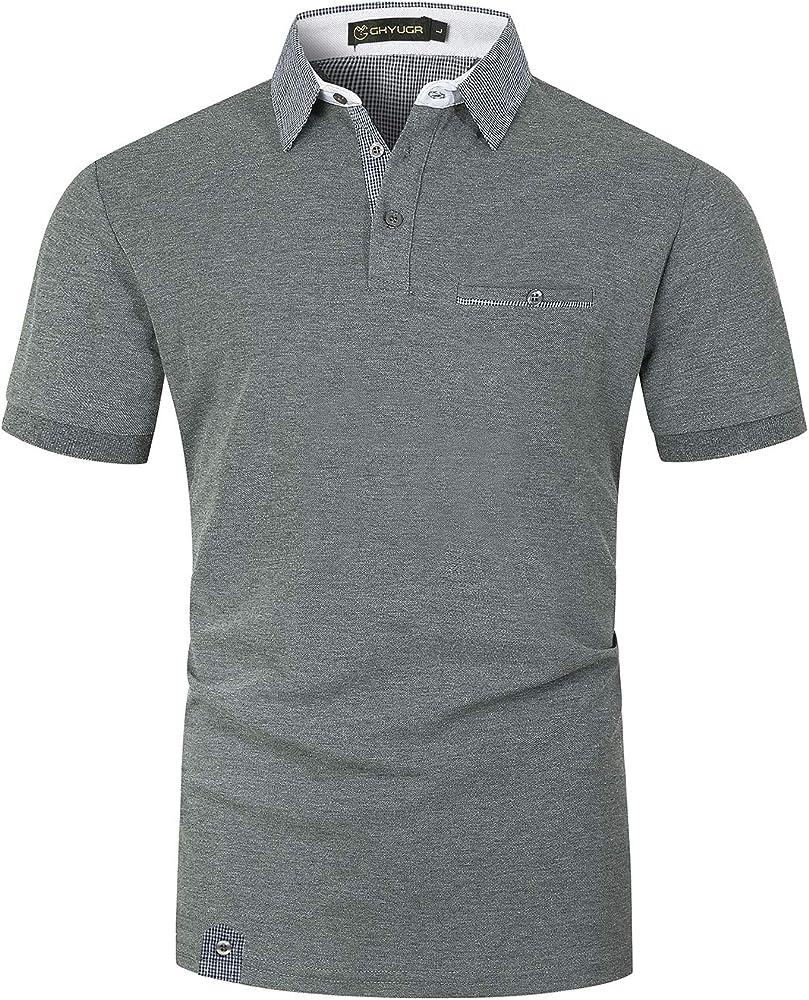 Ghyugr polo maglietta da uomo a maniche corte 100% cotone ? shenkaclothing0618-B