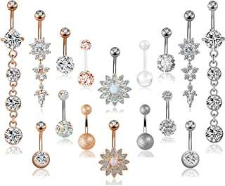 FIBO STEEL 3-16 Pcs 14G Stainless Steel Dangle Belly Button Rings Navel Barbell Body Jewelry Piercing