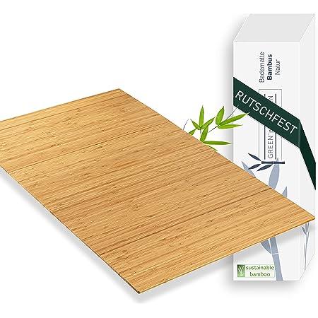 Green'n'Modern Tapis de bain en bambou antidérapant   Tapis en bambou pour salle de bain   Tapis de douche hygiénique   Tapis en bois de bambou tapis de sol   tapis de bain   tapis WC