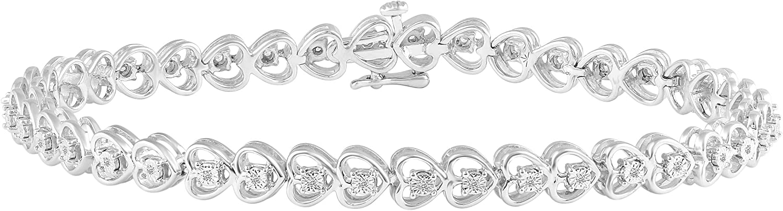 1 8 Carat 55% OFF tw Charlotte Mall Natural Diamond Heart Tennis Bracelet 925 in Sterli