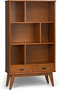 Simpli Home Draper Solid Hardwood 64 inch x 35 inch Mid Century Modern Wide Bookcase and Storage Unit in Teak Brown