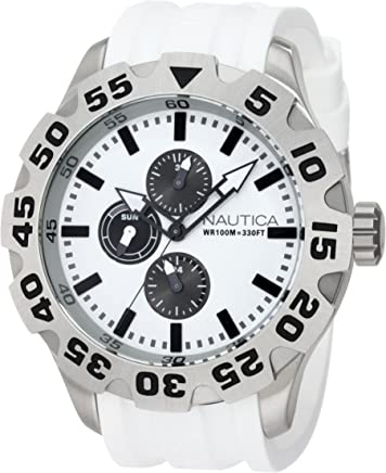 Nautica Mens N19566G BFD 100 Multifunction White Watch Set