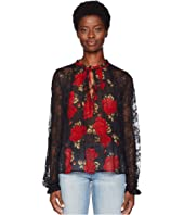 The Kooples - Sleeping Rose Print Top with Long Sleeves, in Lace