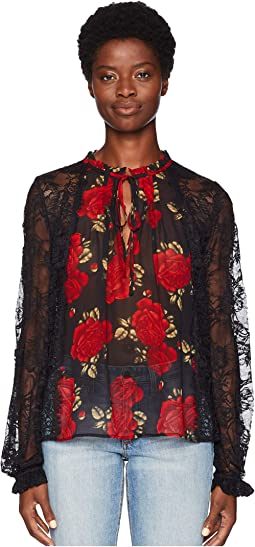 Sleeping Rose Print Top with Long Sleeves, in Lace