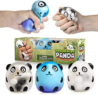 YoYa Toys DNA Wildlife Panda Stress Ball 3-Pack - Stimulating, Calming Sensory Squishy Balls for Kids and Adults - Squishies for Autism, ADHD and Quitting Bad Habits - Durable and Non-Toxic