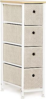 Commode Étroit à 4 Tiroirs en Tissu Meuble de Rangement Petite Cabinet Armoire Metallique Pieds Réglables pour Espaces Pet...