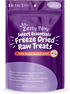 Zesty Paws Freeze Dried Salmon Filet Treats Dogs & Cats - with Pure Raw & Wild Caught Pacific Sockeye Salmon Fish - Omega ...