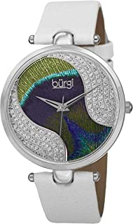 Burgi Women's Painted Analogue Display Quartz Watch with Leather Strap