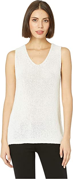 Sleeveless Specked Shiny V-Neck Sweater