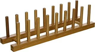 Lipper International 887 Bamboo Wood Plate Rack and Pot Lid Holder, 15-3/8