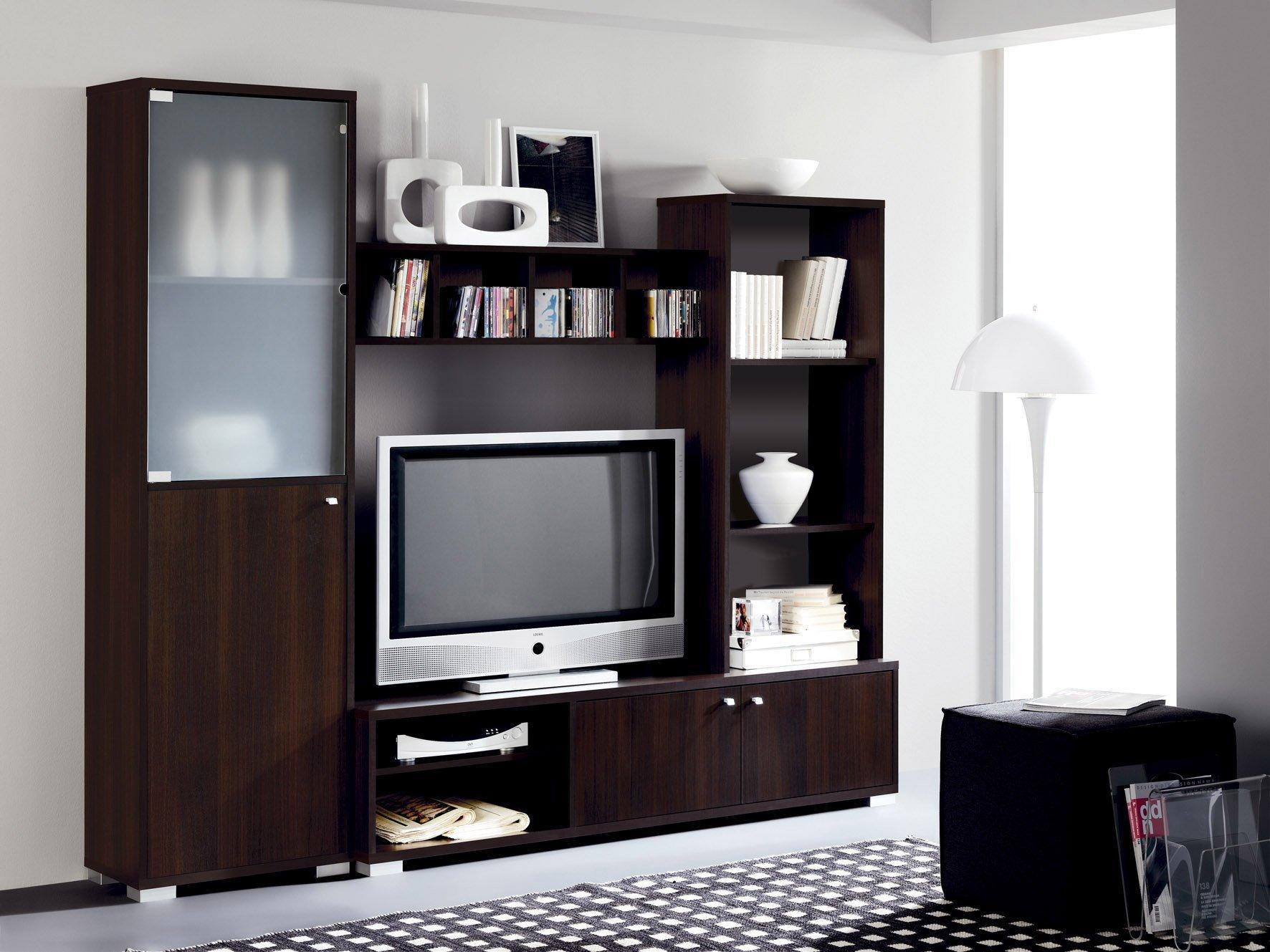 Abitti Mueble Salon Comedor Modular con Vitrina de Cristal 200x180, Color wengue: Amazon.es: Hogar