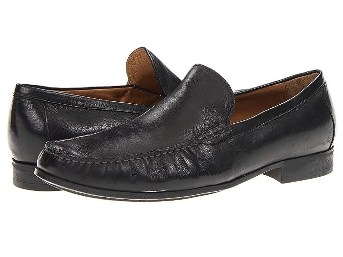 Johnston and Murphy  Cresswell Dress Slip-On (Black Sheepskin) Mens Slip on  Shoes
