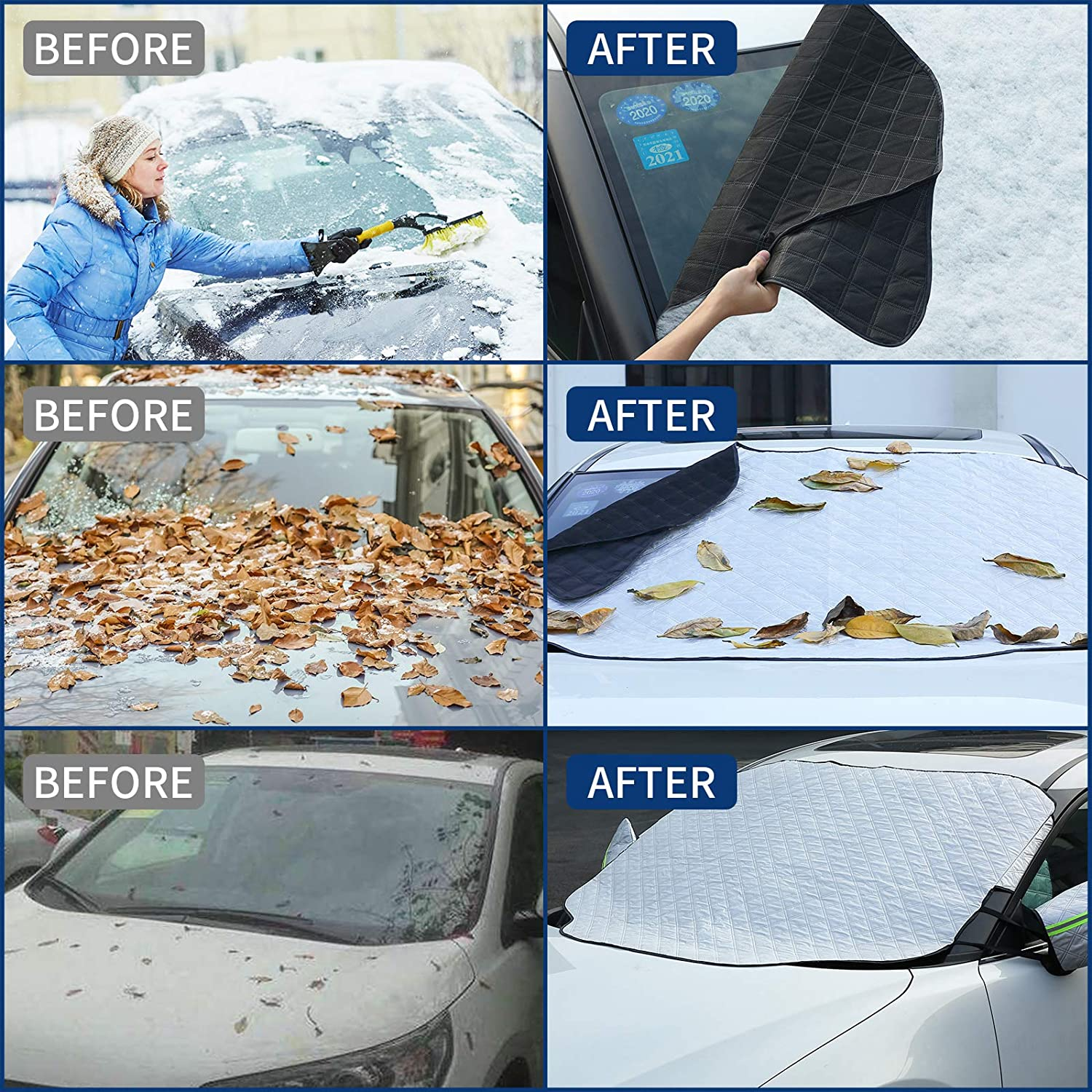 SOTOGASUKI Windshield Snow Cover Ice Frost Cover for Car Freeze Protector Winter Waterproof Wind-Proof Summer Auto Sun Shade All Weather Fits Most Cars Sliver