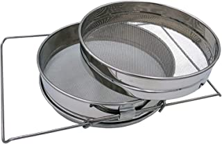 Honey Stainless Steel Strainer Double Sieve, Bee Keeping Equipment Filter with Extendable Arms
