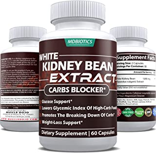 White Kidney Bean Extract 1200 Mg - Support Carbs Block, Weight Loss, Glycemic Index * - Gluten Free, Non-GMO - Made in USA