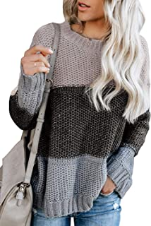 Vansha Womens Crewneck Long Sleeve Color-Block Oversized Knit Chunky Pullover Sweaters