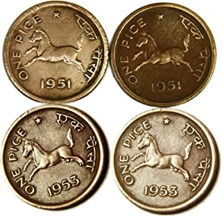 CHITHRA COLLECTIONS® 1 PAISA Horse Copper Coins 4 Pcs. Old INIDA Coins ( Years Will BE Changed )